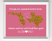 Best Friend Gift-Friends Digital Download-Glitter States Long Distance 8x10 Printable-Choose Your States and Color from paper and palette