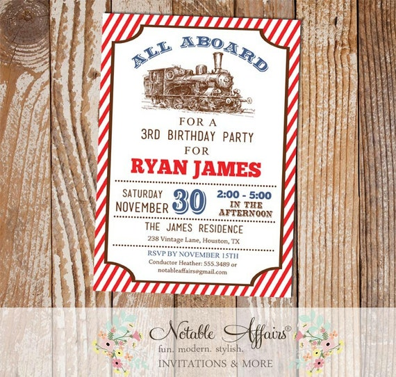 Vintage navy and red stripes all aboard train birthday party il570xn filmwisefo
