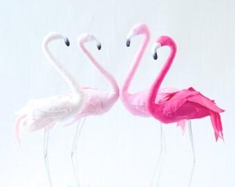 Pink Flamingo bird - textile sculpture decoration