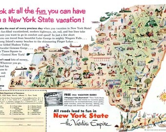Vintage New York State Travel Ad Picture Map Artist Irv Koons 1950s Vacation Empire Original Wall Decor