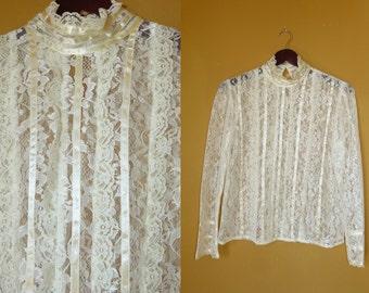 Beautiful Vtg NWOT 60's 70's Boho Romantic Gunne Sax Ivory ribbon Lace long slv blouse top XS//S//M