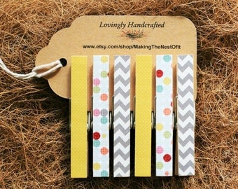 Clothespin Magnets, Chevron and Dots, Standard Size, Set of 6