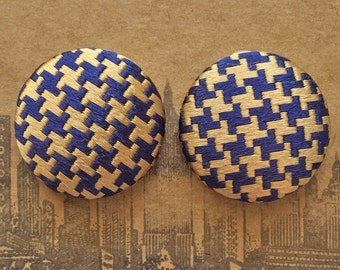 Fabric Covered Button Earrings / Gold and Navy / Houndstooth Print / Wholesale Jewelry / Gifts for Women / Stud Earrings