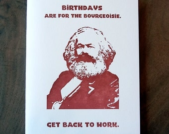 Birthday Bourgeoisie Marx Funny Letterpress Greeting Card Political Parody Cards