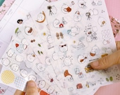 Molang Sticker Set - Transparent Sticker - Cell Phone Sticker - Diary Sticker - Filofax - 6 Sheets in