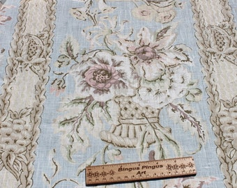 Vintage Laura Ashley Curtain Fabric, Shabby Shic Pastel Floral, Drapery, Old Fashioned Romantic Flower Linen Fabric, 1 3/4 yards
