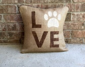 Puppy Love Burlap Pillow, Dog Decor, Paw Print Pillow, Dog Mom Decor, Dog Dad, 16x16, Dog Parent Gift, Burlap Dog Lover Decor