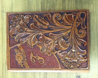 Custom tooled leather portfolio planner
