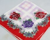 Vintage Handkerchief. Red and Lavender Flowers, Collectible Hankie, Hankie for Crafting, Framing,  or Sewing Hankie Lot T3