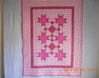 Pink  Baby Ohio Star  Quilt # 468