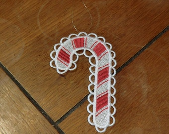 Embroidered Ornament - Christmas -  Candy Cane White  All Thread