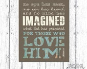 PRINTABLE art, Digital Print, Scripture Art, Bible Verse Art, Faith Art, 1 Corinthians 2:9