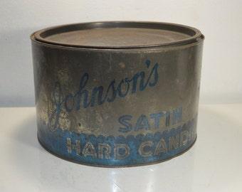 Johnson's Satin Hard Candies Store Counter Tin