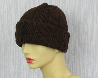 Mens Knit Beanie Mens Beanie Hat, Slouchy Beanie, BROWN Knit Hat, Mens Hat, Mans Hat, Mens Slouch Beanie, Mens Knitted Hat