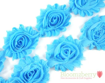 """2.5"""" Shabby Rose Trim- Turquoise Color - Turquoise Shabby Rose Trim - Blue Turquoise Chiffon Trim - DIY Hair Accessories Supplies"""