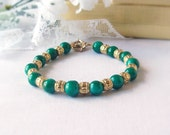 FREE SHIPPING Jade Beaded Bracelet with Gold Plated Accent Spacer Beads