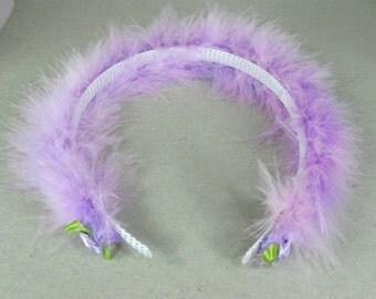 Girls Headband, Toddler Hard Headband, Little Girl Headband with purple boa, Purple Headband, Birthday Headband