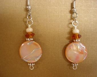 Orange Mother of Pearl Shell Coin Bead Dangle Earrings