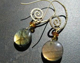 Labradorite Statement Earrings, Sunset Gold Labradorite Coins, Topaz Crystal, Matte Gold Swirl Ear Wires 984
