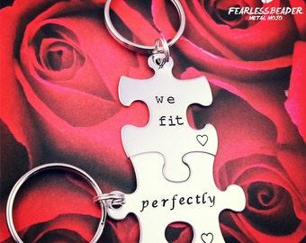 Puzzle Piece Keychain, Set of 2, Valentines Day, Handstamped Silver Puzzle Pieces, Custom Keychain, BFF Keychain, Anniversary Gift, Wedding