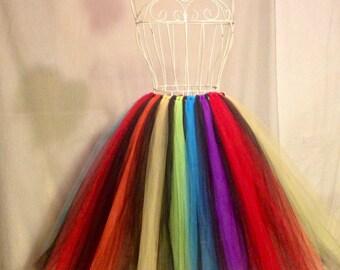 Rainbow party adult floor length tutu or tea length dress