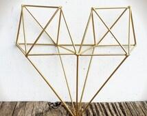 BOLD 3D geometric metal heart wall art // metallic gold leaf // modern tribal wire diamond // boho bohemian chic // wedding nursery decor