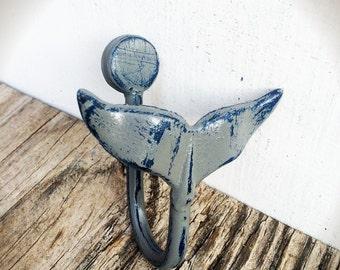 BOLD grey & navy blue whale tail wall hook // nautical beach shabby chic // rustic metal home Decor // nursery storage // animal fish