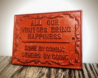 BOLD Visitors wall plaque sign // pumpkin cinnamon brown // burnt orange rustic shabby chic wall art decor // happiness decorative door sign