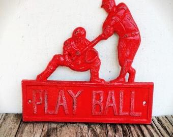BOLD play ball baseball sign // rustic apple red & white // shabby chic home decor // boys room man cave // metal signs // nursery decor