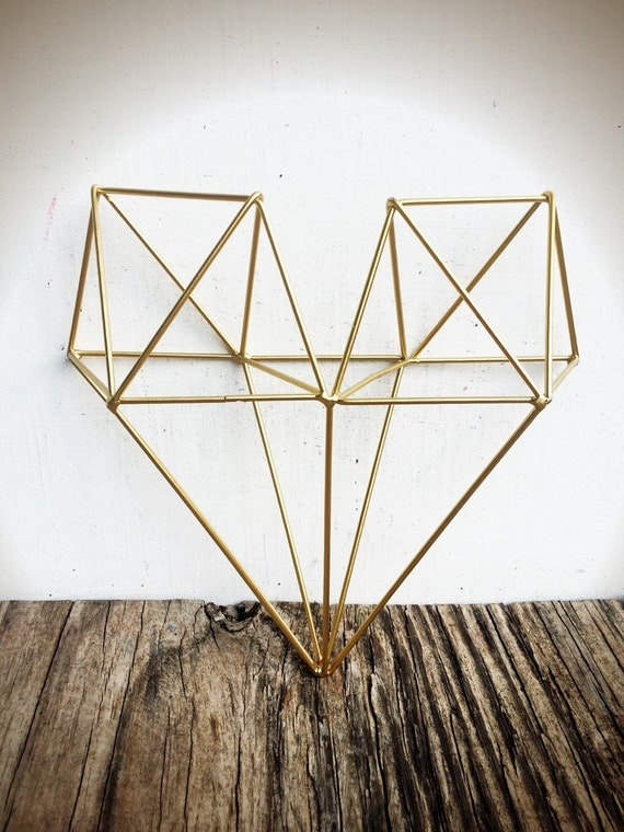 Gold Wire Wall Decor : Bold d geometric metal heart wall art metallic gold leaf