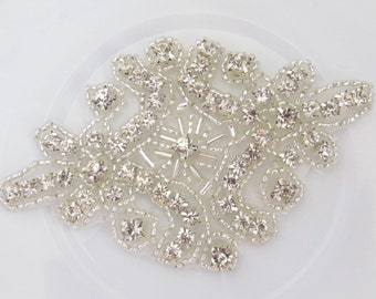 Rhinestone Applique / Bridal Applique /  Beaded Applique / RA-19  Iron on