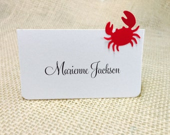 10 Crab Place Cards, Red Crab, Customize Any Color, Guest Information Printing Possible, Wedding Party, Parties, Beach Wedding Decor