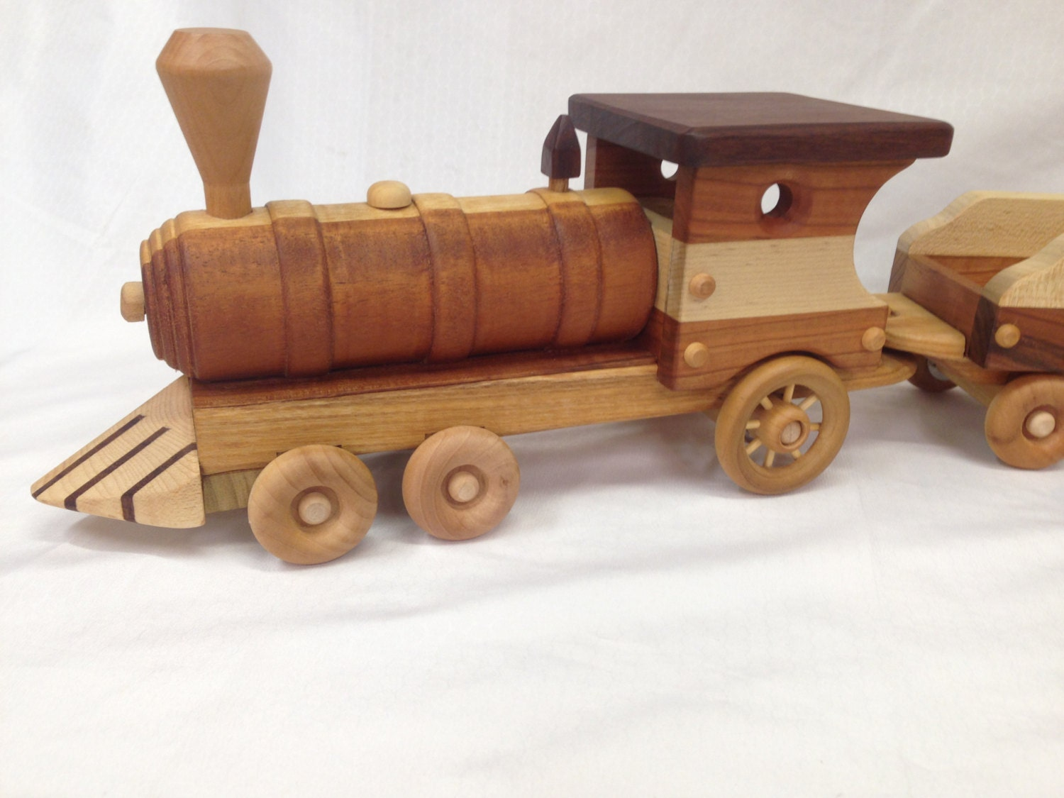 LARGE Train Set OVER 3' LONG Wooden Toy with Removable Lid