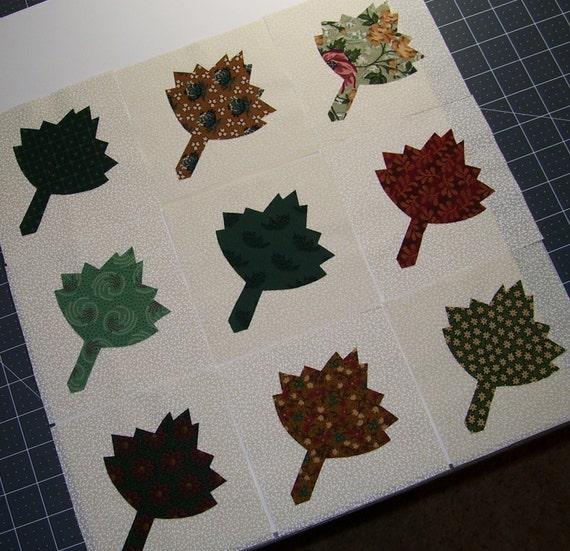 Set of leaf applique quilt blocks thimbleberries by