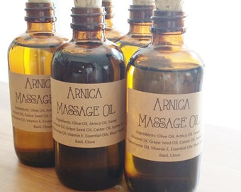 Arnica Massage Oil Warming Pain Relieving Deep Tissue All Natural 4oz Glass Amber Bottle