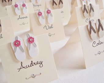 Personalised Handmade Flip Flop Beach Themed Wedding Place Cards (Pack of 10)