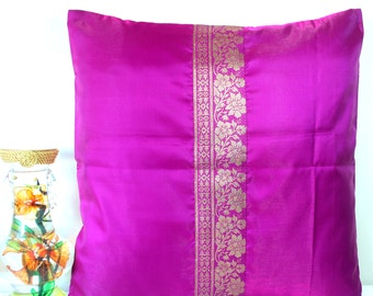 Pink Pillow Cover Pink Throw Pillow Indian Sari Pillow Sari Cushion Cover Magenta Pillow Cover Vintage Inspired Unique 18x18 pillows