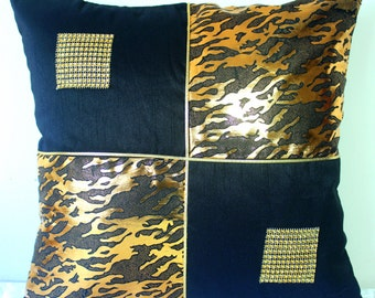 Black and Gold Throw Pillow Gold Pillow Cover Shimmer Abstract Contemporary Decorative Pillow Accent Pillow Cushion Cover Square Pillow