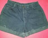"32"" Vintage High Waisted Denim Distressed Shorts"