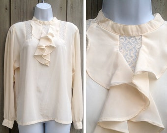 Cameron vintage blouse | Shirtstrings vintage romantic white silk ruffle blouse with lace