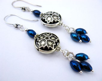 Hematite Dangle Earrings, Titanium Coated, Iridescent Blue, Pewter Bead, Handmade, Stunning Earrings, Dramatic, Silver Wire Wrapped, Gift