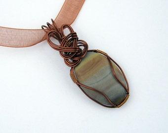 Landscape Jasper Pendant, Semi Precious Stone, Copper Wire Wrapped, Antiqued Copper Wire, Handmade, Grey, Blue, Copper Tones, Organza Ribbon