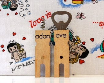 Vintage Adam and Eve Wooden Corkscrew and Bottle Opener Retro Kitsch