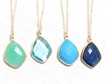 Gemstone Bezel Pendant Necklace/Gold Layering Necklace/chrysoprase, turquoise, blue quartz, navy gemstone