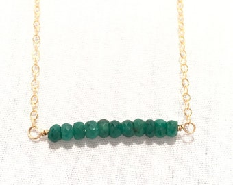 Bar Necklace/Emerald Bar Necklace/Emerald, Gold, Silver Necklace/Gift for Her