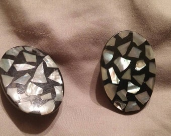 Vintage Black Earrings with Shell Inlay