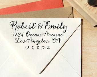 Calligraphy Return Address Stamp - weddings, save the date, custom wedding gift, housewarming gift