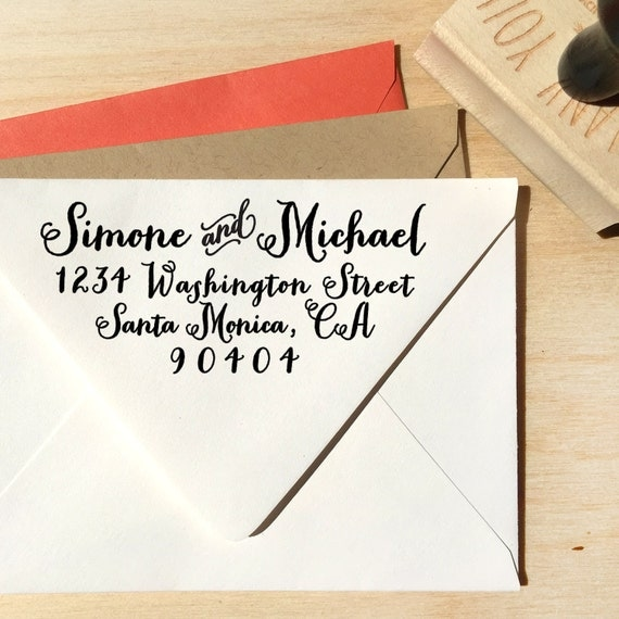 Custom Return Address Stamp With A Curly Calligraphy Script