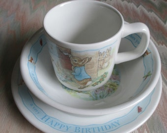 Wedgewood Peter Rabbit Happy Birthday Plate, Bowl,Mug Set.