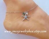Starfish adjustable anklet